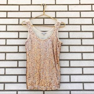 Banana Republic Copper & Gold Sequined Tank Top